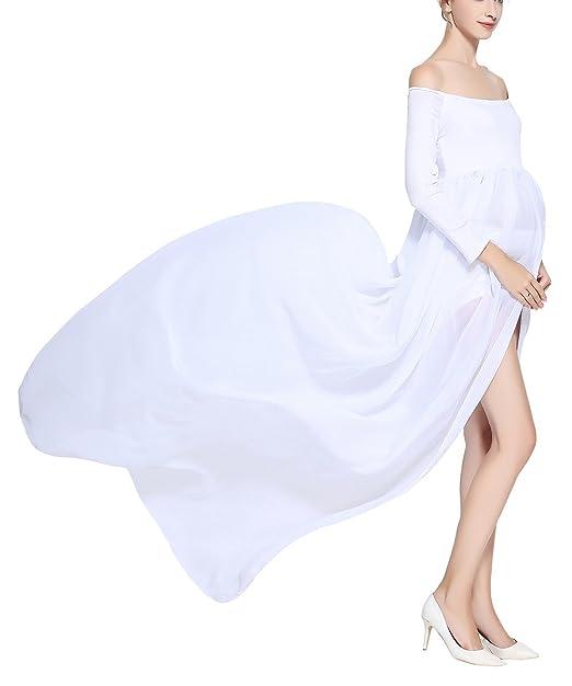 FEOYA Vestido Largo de Maternidad Dividido con Manga Larga Cuello Barco Fotografía Algodón Elegante Blanco XL