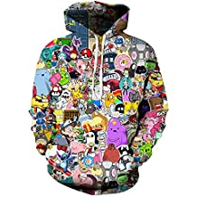 NOKMY Unisex Pullover Hoodies Sweatshirts colorful Graffiti Activewear 3D Digital Realistic Printed Hooded Coat With Pockets