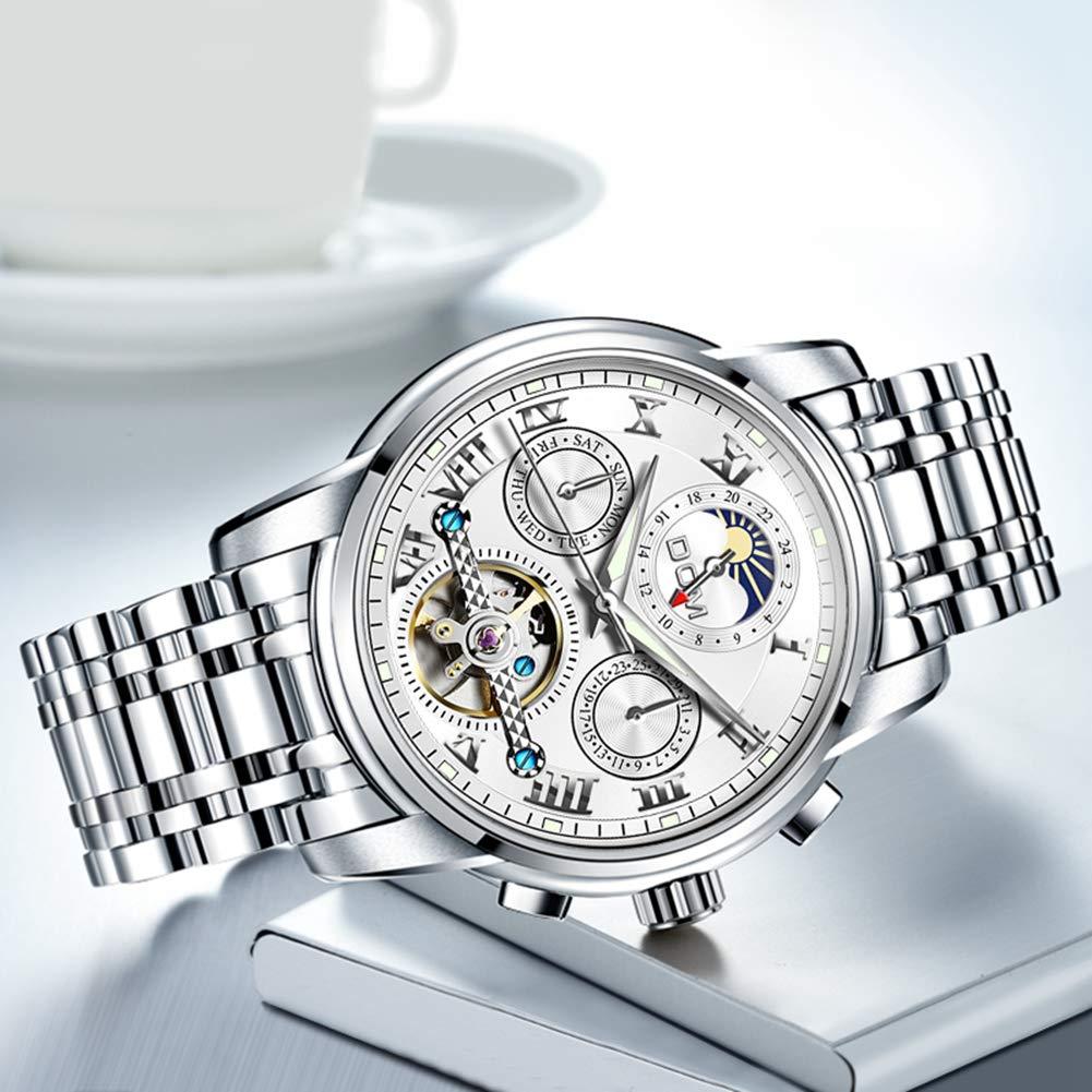 Men's Watches rostfritt stål mekanisk vattentät business watch, uxuriös stil romerska siffror rund klocka stålbälte automatisk, unik design Fashion Classic Watch En svart