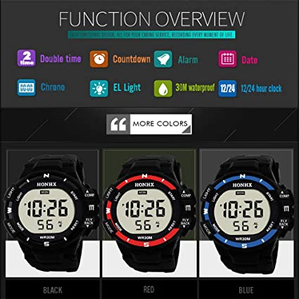 Amazon.com : DYTA Digital Watches for Men LED Sport Wrist Watches 5ATM Water Resistant Outdoor Watch Military JP Quartz Watchs with Rubber Strap Silicone ...