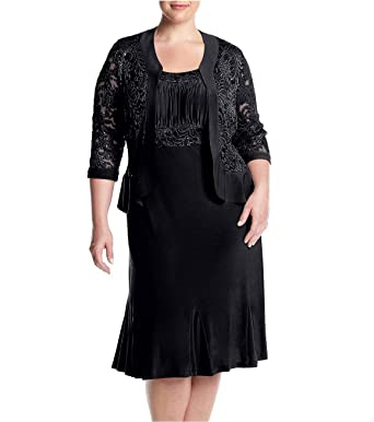 762bc852542 RM Richards Womens Plus Size Ruffled Trim Lace Jacket Mother of The Bride  Dress (14W