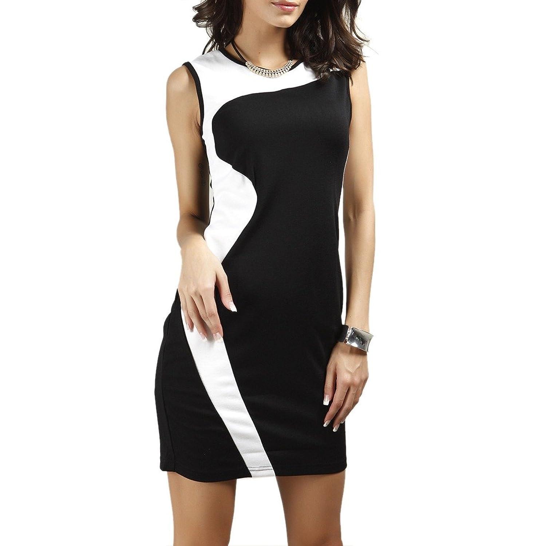 Winson Women Black White CONTRAST COLOR Slim Sleeveless Ol lady short Dress
