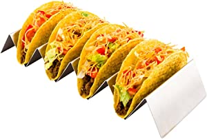10.7 Inch x 4 Inch Taco Stand, 1 Holds 4 Tacos Taco Rank - Reversible, Dishwasher Safe, Stainless Steel Taco Holder, For Hard Or Soft Shells - Restaurantware