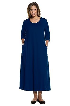 6e06c41f497 Ulla Popken Women s Plus Size A-Line Jersey Maxi Dress Navy 36 38 711437