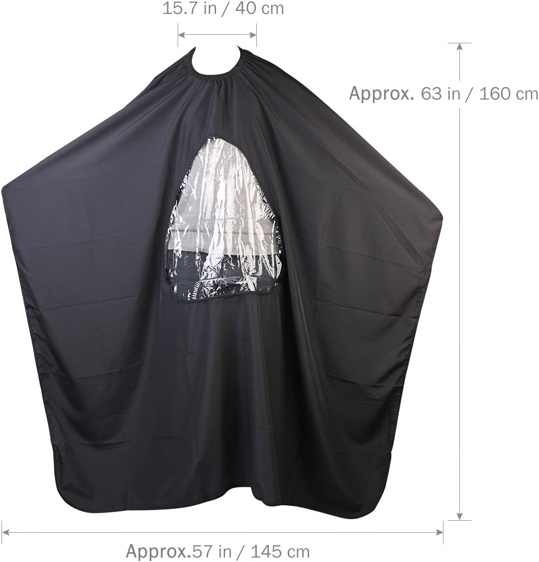 Salon Home Barbers Hairdressing Cape Gown with Viewing Window for Hair Cutting (Black)