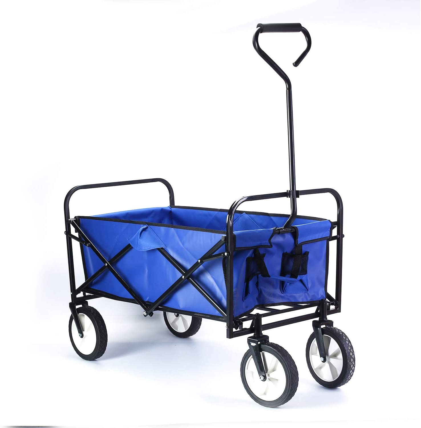 Nisorpa Collapsible Outdoor Utility Wagon Blue Compact Garden Camping Cart Heavy Duty Wheelbarrow Shopping Carts with Wheels for Grocery Sports Equipment Tailgating