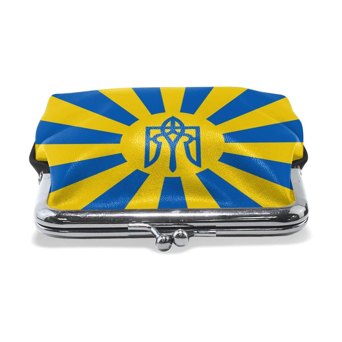 Eunice Jackson Womens Ukrainian Flag Flat Wallet Style Purse Leather Coin Handbag