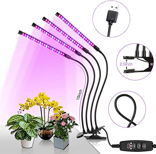 Grow Lights for Indoor Plants, KOCASO 80W Plant Grow Light 80 LEDs Plant Lights with Red Blue Spectrum 10 Dimmable Level 360 Adjustable Gooseneck 3 6 12H Timer Clip-On Desk Grow Lamp for Succulen