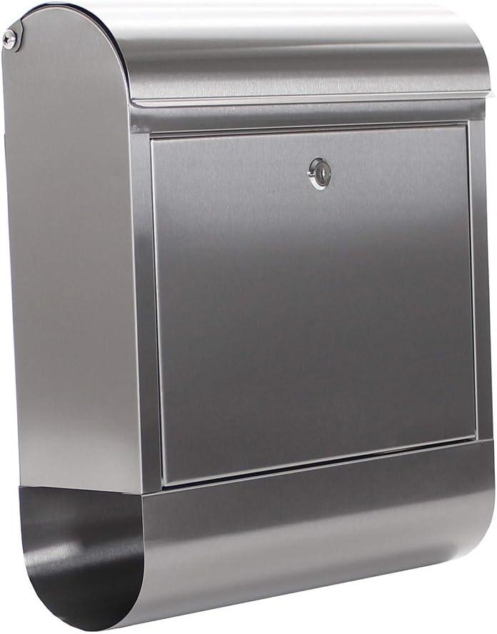 Buzón de correos Rondello de Rottner con soporte para periódicos integrado, Fabricado en acero inoxidable de alta calidad, Carga superior con solapa, Cerradura de cilindro, Kit de fijación incluido