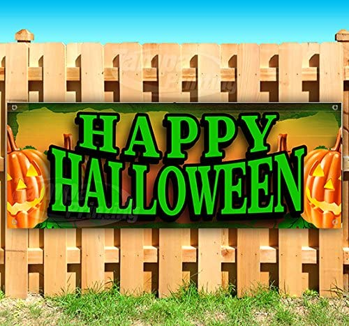 Store Flag, Advertising New Happy Halloween Extra Large 13 oz Heavy Duty Vinyl Banner Sign with Metal Grommets Many Sizes Available
