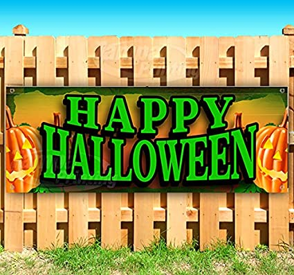Advertising Flag, Happy Halloween Extra Large 13 oz Heavy Duty Vinyl Banner Sign with Metal Grommets Store New Many Sizes Available