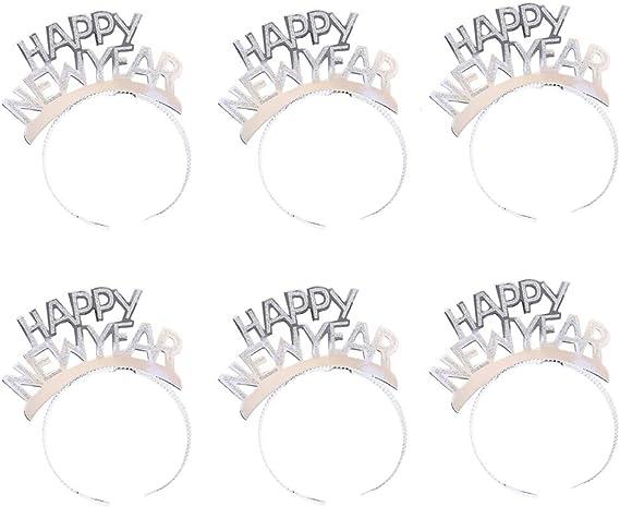 Amosfun 2Pcs Frohes Neues Jahr Stirnband Kopf Bopper Glitter 2021 Stirnband Neujahr Tiara Krone Haarreifen Haarschmuck f/ür Weihnachten Silvester Party