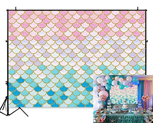 Art Studio 7x5ft Sea Pastel Pink Blue Little Mermaid Scales Photography Backdrop Girls Princess Birthday Party Gold Glitter Newborn Baby Shower Photo Background Cake Table Decor Photo Booth Props