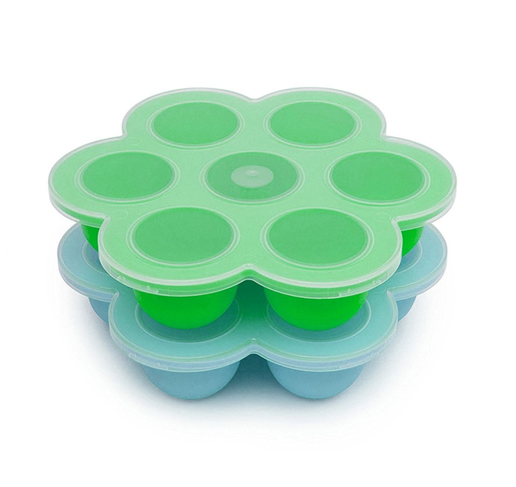 2 Pack Silicone Egg Bites Mold for Instant Pot Accessories, Baby Food Freezer Tray Containers - Fits Instant Pot 5,6,8 qt Pressure Cooker (Green+Blue)