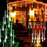 ED Meteor Shower Lights, BIG HOUSE Outdoor Decorations Light 11.8Inch 8 Tubes 112 LEDs Falling Rain Drop Icicle String Lights for Christmas Tree Xmas Holiday Party (Not Included Plug, White)