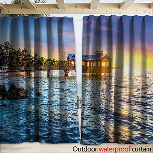 warmfamily United States Blackout Curtain Pier at Beach in Key West Florida USA Tropical Summer Paradise W120 x L108 Pale Blue Yellow Green (Right Lighted Pier)