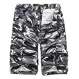 iZHH Men's Camouflage Outdoors Pocket Beach Work Trouser Cargo Shorts Pant(Gray,33)