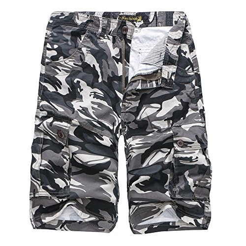 iZHH Men's Camouflage Outdoors Pocket Beach Work Trouser Cargo Shorts Pant(Gray,36)
