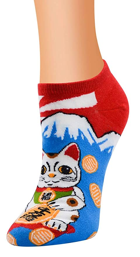 eea3a2972b55 AnVei-Nao Womens Girl Japanese Sushi Fish Cat Printed Cotton Ankle Socks 5  Pack at Amazon Women s Clothing store