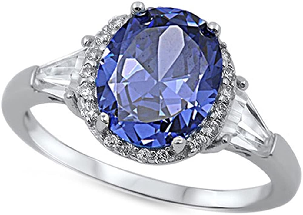 Blue Simulated Sapphire /& Cubic Zirconia Bridal Set .925 Sterling Silver Ring Sizes 4-11