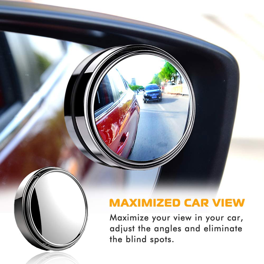 Blind Spot Mirror 2 Round HD Glass Convex Wide Angle 360/°Adjustable Rear View Mirror for Universal Vehicles Car Fit w// 3M Stick on Adhesive