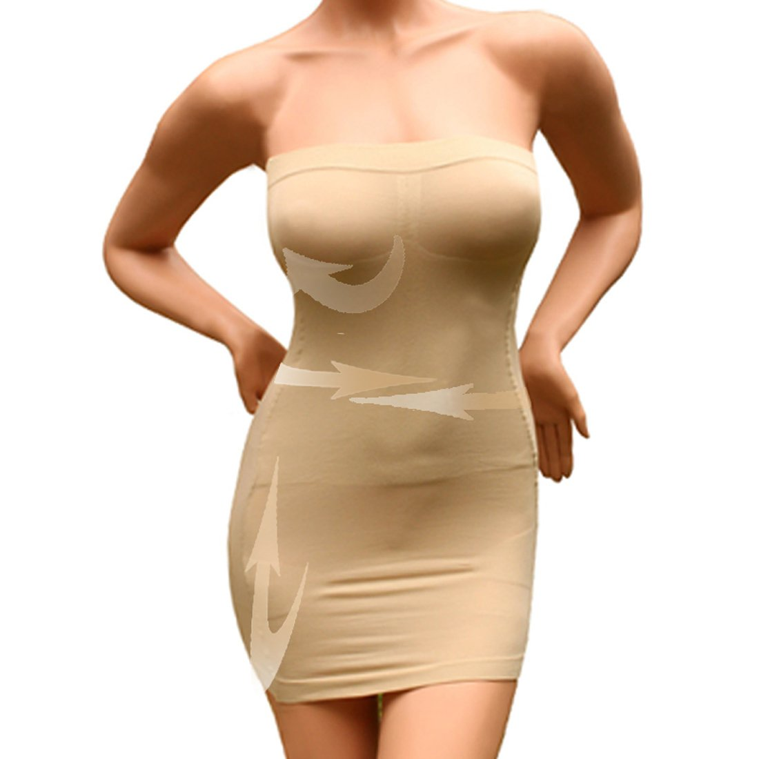 71d531318f54 Amazon.com: Andux Sexy Slimming Tube Top Stretch Strapless Slip Mini Dress  SS-W03 Beige: Sports & Outdoors