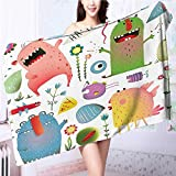 also easy Quick-Dry Bath Towel Imaginary Creatures Fun Laughing Childish Monsters Ideal for everyday use L39.4 x W19.7 INCH