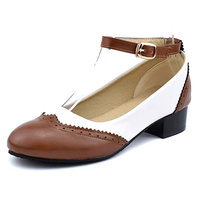 Vintage Style Shoes, Vintage Inspired Shoes 100FIXEO Women Ankle Strap Low Heel Pumps Saddle Oxford Shoes $39.99 AT vintagedancer.com