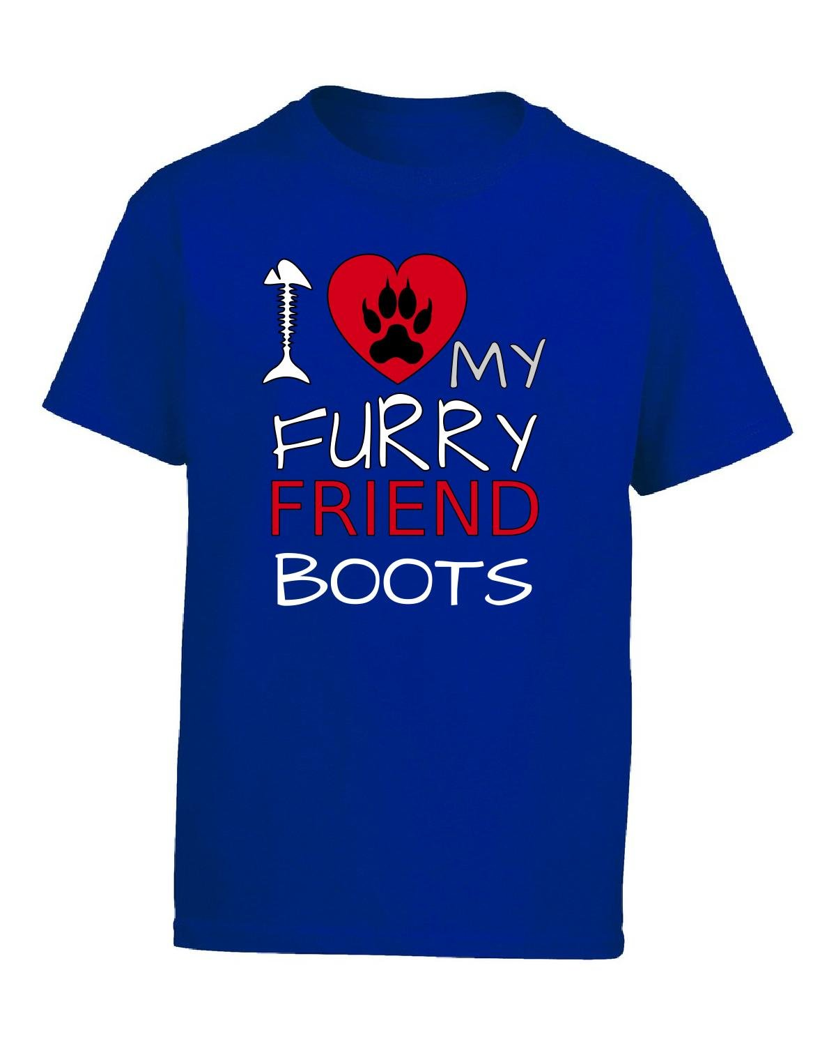 I Love My Furry Friend Boots Custom Cat Owner Gift - Girl Kids T-shirt