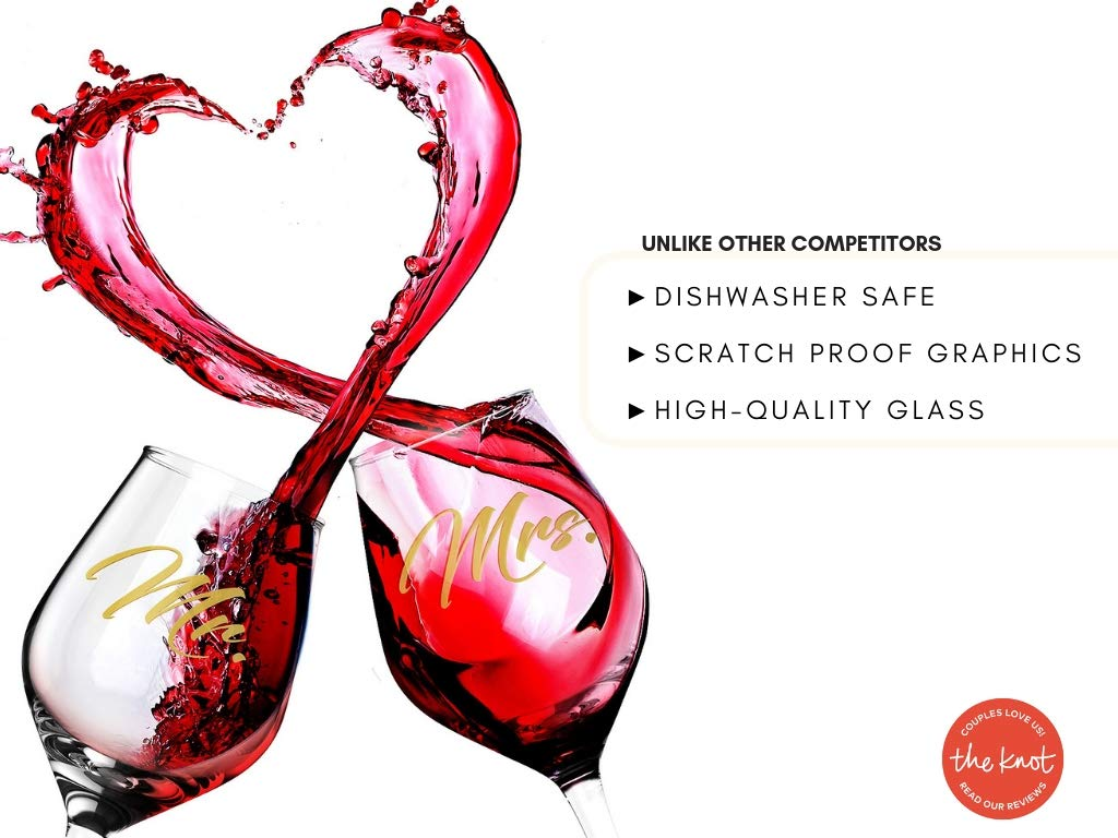 LUXURY MR & MRS WINE GLASS SET FOR COUPLES- Best Engagement Gifts for Her, Bride & Groom, Bridal Shower Gifts, Wedding Gifts For The Couple- FREE Wine Stopper, Glass Marker & Gift Card by LUXLOVE (Image #4)