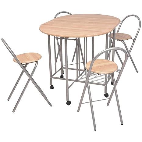 vidaXL 5 Pz Set Tavolo Tavolino e Sedie Sedia Seggiole Pieghevoli ...