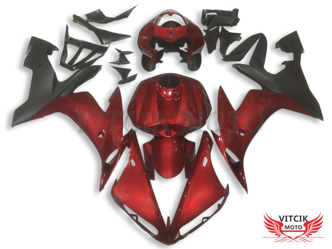 VITCIK (フェアリングキット 対応車種 ヤマハ Yamaha YZF-1000 R1 2004 2005 2006 YZF 1000 R1 04 05 06) プラスチックABS射出成型 完全なオートバイ車体 アフターマーケット車体フレーム 外装パーツセット(レッド & ブラック) A066   B075GWF6GS