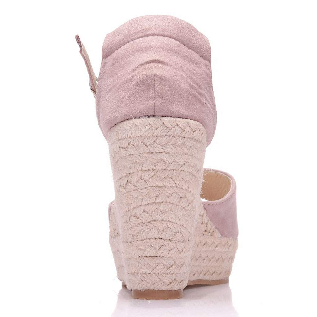 SSYUNO Womens Summer Bohemian Espadrille Platform Wedge Sandals Ankle Strap Open Toe Beach Dress Comfy Shoes Pink by SSYUNO (Image #4)
