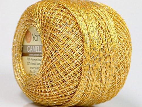 20 gm Cotton Thread Yarn Crochet Embroidery Knitting Lace Orange /& Gold Lurex
