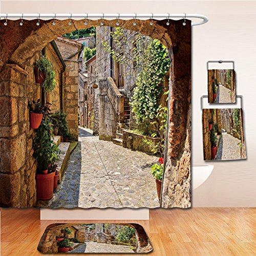LiczHome Bath Suit: Showercurtain Bathrug Bathtowel Handtowel Arched cobblestone street in a Tuscan village, Italy