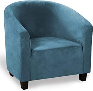 Velvet Club Chair Slipcover Stretch Tub Arm Chair Cover Furniture Protector for Living Room IKEA Tullsta Chair, Thick, Soft, Washable (Peacock Blue)