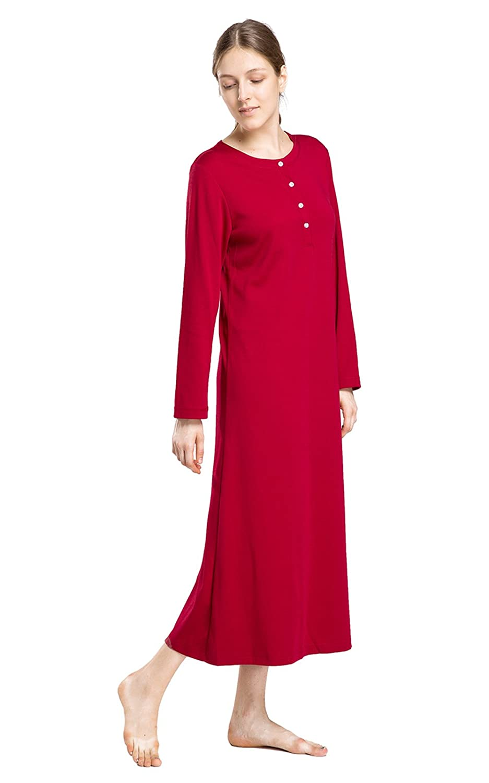 Henley Full Length Sleep Dress TB002 lantisan Cotton Knit Long Sleeve Nightgown for Women