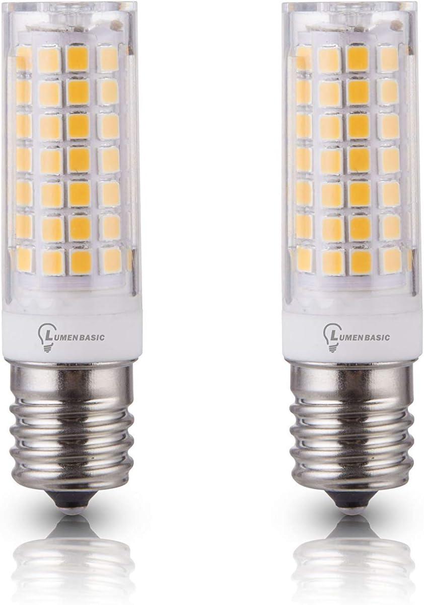 LumenBasic E17 Bulb 40w - E17 LED Appliance Bulb 7W Daylight White E17 Intermediate Base 45W Halogen Equivalent JD T4 Bulbs AC110 120v 130V (Pack of 2)