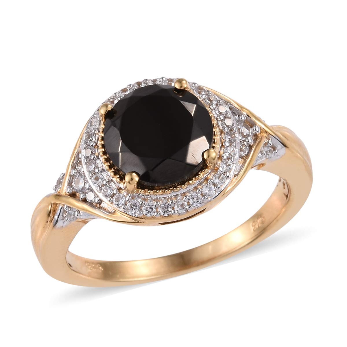Promise Ring 925 Sterling Silver Vermeil Yellow Gold Shungite Zircon Jewelry for Women Size 7 Ct 1.8