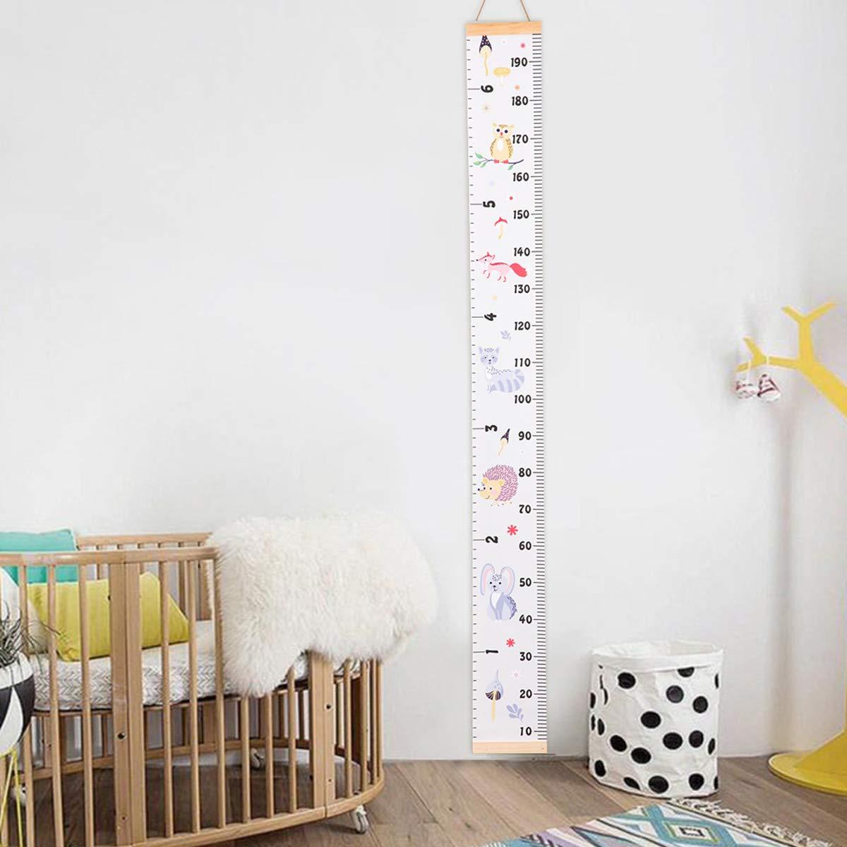 abnehmbares Leinen Borlai Baby-Wachstumsdiagramm Messlatte f/ür Kinderzimmer