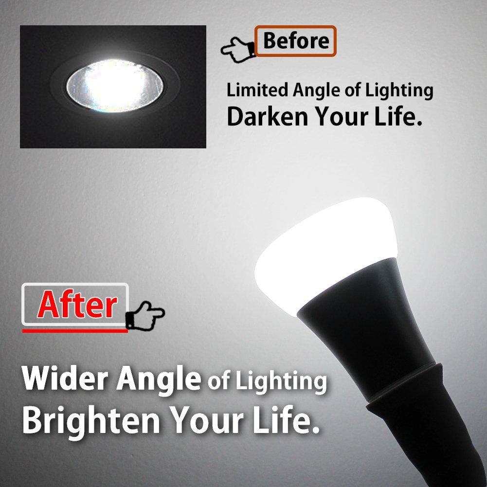 DiCUNO E26/E27 Socket Extender Adapter, E26/E27 to E26/E27 Adjustable Extension, Flexible Medium Light Bulb Socket Converter, 180 Degree Bendable (6-Pack) by DiCUNO (Image #5)