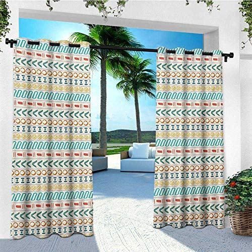 (leinuoyi Striped, Outdoor Patio Curtains, Ethnic Cultural Striped Boho Motif Traditional Southwestern First Nations Artisan Design, Outdoor Patio Curtains W84 x L108 Inch)