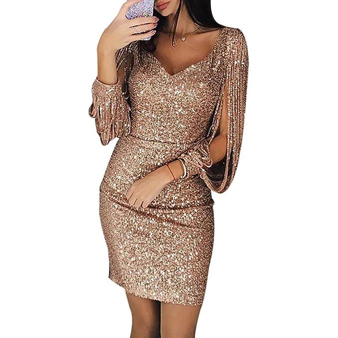 ffc5a4e502 Meiyiu Women V-Neck Slim Sequined Tassel Long Sleeve Shining Bodycon Dress  Rose Gold S