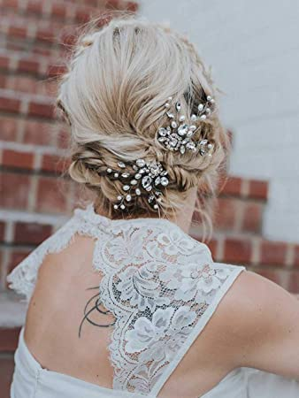 c5f655372261 Unicra Bride Wedding Crystal Hair Pins Silver Bridal Headpieces Wedding  Hair Pieces Accessories for Women and