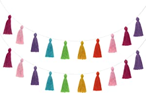 Mkono 2 Pack Cotton Tassel Garland Banner Colored Party Backdrop Decorative Wall Hangings Llama Decorations for Bedroom, Nursey Dorm Room, Birthday, Baby Shower, Holiday, Girls Boho Home Decor
