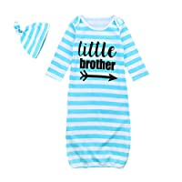 Mellons Baby Boys Girls Pajamas Letter Printed Stripe Long Sleeve Sleepers with Hat