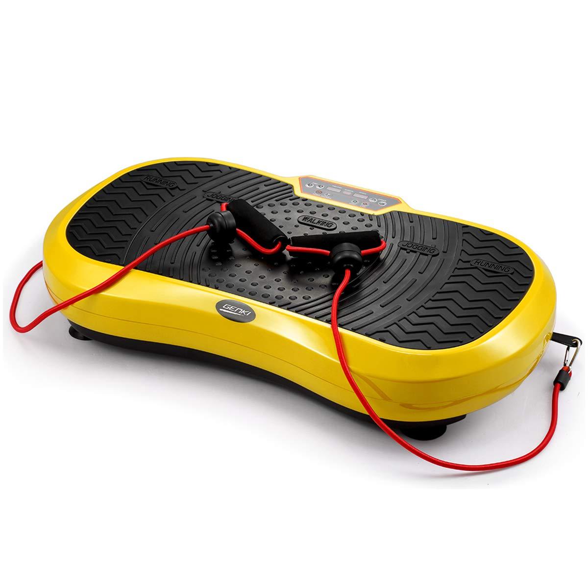 GENKI Fitness Vibration Platform Workout Machine Whole Full Body Shape Exercise Training Power Plate (Yellow)