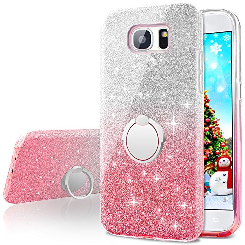 Galaxy Note 5 Case,Silverback Girls Bling Glitter Sparkle Cute Phone Case with 360 Rotating Ring Stand, Soft TPU Outer Cover + Hard PC Inner Shell Skin for Samsung Galaxy Note 5 -Pink