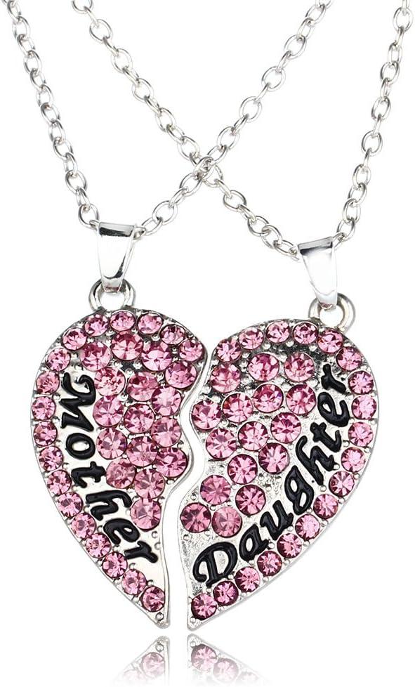 Día de la madre regalo, Deesos 2 piezas collar amor entre madre e hija es para siempre el mejor regalo para el cumpleaños de mamá corazón diamante collar colgante para madre e hija (púrpura)