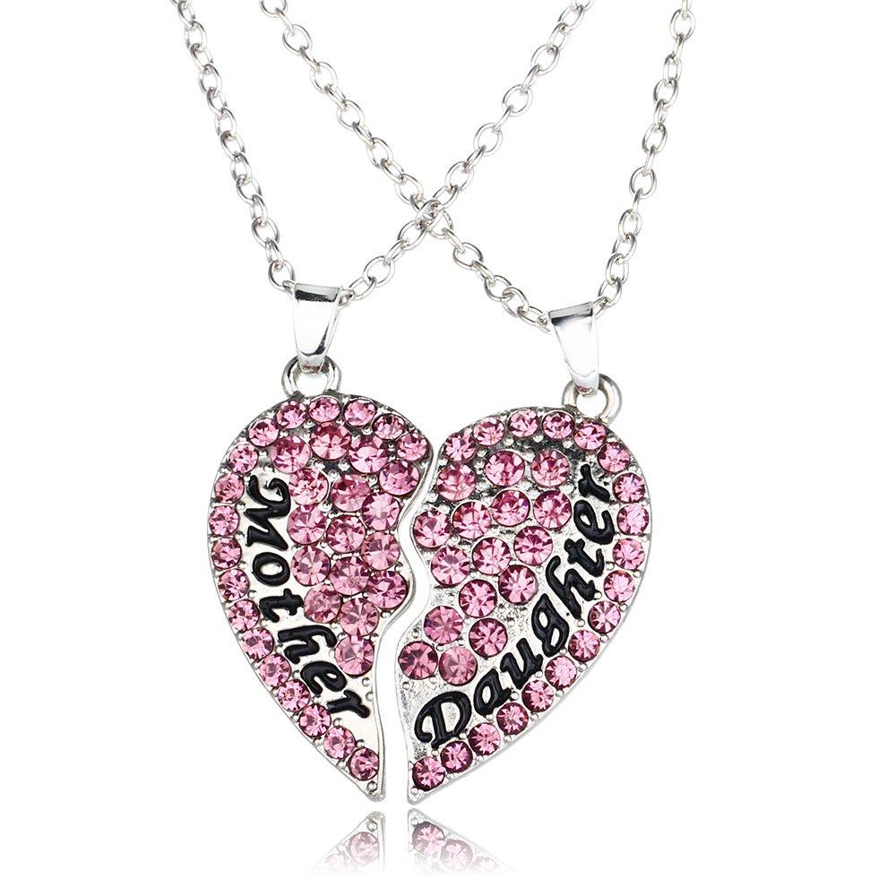 el mejor regalo para el cumpleaños de mamá corazón diamante collar colgante para madre e hija (púrpura)